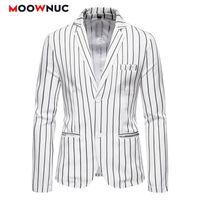 Мода Костюмы для мужчин Случайные Blazer Мужские Пальто Свадебные Куртки 2021 Новый Полосатый Hombre Высококачественная весенняя Осень Slim Moowuc