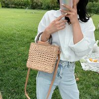 Evening Bags Women Retro Top Handle Luxury Design Crossbody Bag Summer Straw Woven Handbags Female Hollow Basket Shoulder