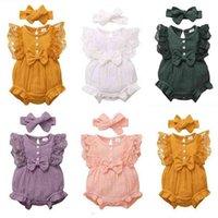 Ins Baby Girl's Siamese Pantaloni Fashion Pizzo Bow Tuta + Fountescarf Abito da due pezzi Bull Bambini Babys Pagliaccetto Carino Casual Vestiti G701JAL