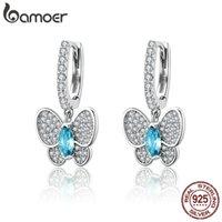 Bamoer Echt 925 Sterling Silber Leuchtende Klar CZ Schmetterling Kristall Tropfen Ohrringe Für Frauen Hochzeit Engagement Schmuck SCE513 210312