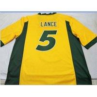 GoodJob 남자 청소년 여성 Nd State Bison Trey Lance # 5 축구 유니폼 크기 S-5XL 또는 사용자 정의 모든 이름 또는 숫자 저지
