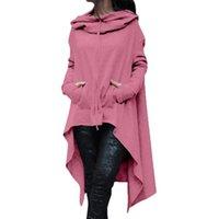 Women's Hoodies & Sweatshirts Autumn Plus Size Women Asymmetric Hoodie Solid Color Long Sleeve Hem Fishtail Sweatshirt Pullover Top Loose Ov