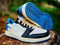 Travis Scotts x 1 Chaussures de basketball Bas Bas Hommes Basketchs Jumpman 1S Militaire Bleu Sports Sneakers Taille US7-13