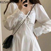 Casual Dresses Kusahiki Frau Kleid Fliege V-Ausschnitt Hauchhülse Herbst 2021 Koreanische dünne Hohe Taille A-Line Vestidos de Mujer 6L395