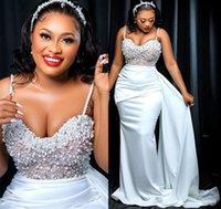 2021 Plus Size Arabic Aso Ebi Mermaid Sexy Pearls Wedding Dress Spaghetti Satin Sweep Train Zipper Bridal Gowns Dresses ZJ177