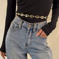Hyperbole Punk Pig Nose Buckle Connecting Sword Belt Waist Chain Fashion Hip Hop Goth Charm Harness for Women Sexy Body Jewelry