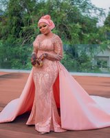 2021 Plus Size Arabic Aso Ebi Pink Luxurious Mermaid Prom Dresses Lace Beaded Crystals Evening Formal Party Second Reception Gowns Dress ZJ630