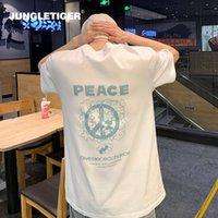 Jungle Tiger Tiger Marca Series Graffiti Niche Anti War Print Hombre Manga corta T-shirt Tendencia