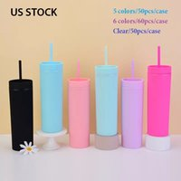 Local warehouse 16oz Acrylic Skinny Tumblers Matte Colored Tumbler with Corlorful Straws Double Wall Plastic cup US STOCK