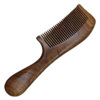 Hair Brushes Wooden Comb Round Handle Small Large Size For Woman (19.5x5.5x1.4cm Middle Teeth Pattern)