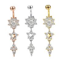 Diamante gota de água anel de barriga ouro de aço inoxidável puncture bell button anéis prego para mulheres moda jóias e presente de areia