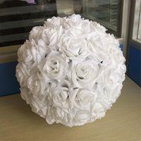 "12 ""30 cm Dia Elegante Milk White Seda artificial Rose Rose Ball Ball Balls For Wedding Party Decoration Supplies"
