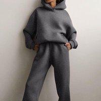 Women's Two Piece Pants Autumn Tracksuit Plus Fleece Sweatshirts Set Casual Oversized Solid Female Sports Hoodie Suit Long Pant Sets