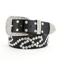 70% Off Factory Online sale Diamond belt women's diamond inlaid versatile white decoration jeans wide