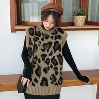 Женские свитера Lanmrem 2021 Большой размер Леопардовый жилет Женский женский утолщение носить осень и зимние модели свободный без рукавов Свитер PC152
