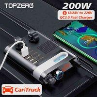 200W車の電源インバータータバコの軽量DC 12V 24V 220V電圧コンバータのアダプター2ソケット4ポートUSB充電器