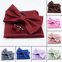 Bow Ties Bright Color Men's Bowtie Handkerchief Brooch Set For Groom Man Purple Red Green Blue Wedding Party Pocket Square