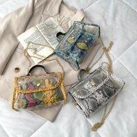 Bolsas de noche chicas breve solapa mujer casual mensajero mujeres compuestas clara bolsa serpiente patrón impresión PU monedero
