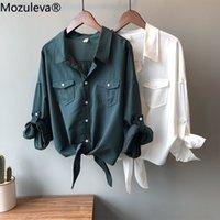 Mozuleva Sonbahar Retro Kore Lezzet Gevşeksiz Olmayan Boyuncu Dantel-up Gömlek kadın Üst Tencel / Lyocell Womens Tops Bluzlar