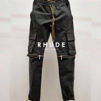 Calças Negra Rhude Homens Mulheres 1: 1 Melhor Qualidade Removível Comprimível Zíper Cordão Carga Multifuncional Flap Bolsos Macacões C0304