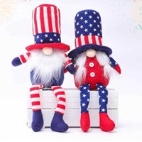 American Independence Day Gnome Red Blue Handmade Patriotic Dwarf Doll Kids 4th of July Gift Home Decoration