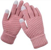 Guantes para mujer Lana de punto Hombre Mujeres Invierno Mantenga el cálido Espesor Mittens Knit Wool Finger Finger Pantalla Táctil Guantes de ciclismo Al aire libre 2pcs un par