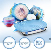 6 stks / set Universele Siliconen Zuig Lid-Kom Pan Cooking Pot Lid-Silicon Stretch Deksels Siliconen Fruit Cover Pan Spill Deksel Stop HWD8378