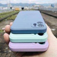 Luxo Original Quadrado Líquido Caso de telefone de silicone para iphone 12 11 pro max mini xs x xr 7 8 plus se 2 slim soft doces capa
