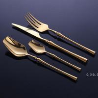 24 Pcs Aço Inoxidável De Aço Inoxidável Conjunto De Cutelaria De Ouro Colher e Forks Set Dinnerware Coreano Alimentos Cutelaria Acessórios de Cozinha EWF5223