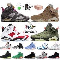 Nike Air Jordan Retro 6 6s Travis Scott Jumpman Stock x مع مربع أحذية كرة السلة للرجال أحمر الخدود الأرنب الأسود الأشعة تحت الحمراء أحذية رياضية للرجال
