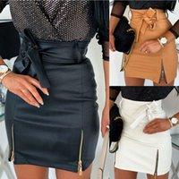 Mini saia para mulheres slim lápis vestido de cintura alta pu couro bodycon ropa mujer cor pura