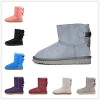 Grwg Nova Marca Couro Genuíno 100% Botas de Neve de Lã para Mulheres Mini Botão Ankle Botas de Inverno Sapatos Frete Grátis 201022