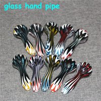 Pyrex Oil Burner Pipes Thick Smoking Hand spoon Pipe 4 inch Tobacco Dry Herb For Silicone Bong Glass Bubbler