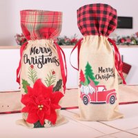 Christmas Plaid Wine Bottle Cover Floral Car Printted Wines Bag Xmas Champagne Bottles Covers Christmases Decoration OWB9151