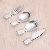 Spoons 1pcs Foldable 304 Stainless Steel Silver Multi Purpose Kitchen Supplies Chopsticks Spoon Fork Portable Outdoor Utensil Cookware