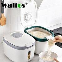 Хранение бутылки JARS Walfos 5L кухонный контейнер 10L влагозащищенное нано ведро насекомое рисовая коробка зерна герметичная домашняя собака домашняя банка