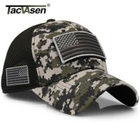 TACVASEN Tactical Camouflage Baseball Caps Men Summer Mh Military Army Caps Constructed Trucker Cap Hats With USA Flag Patch