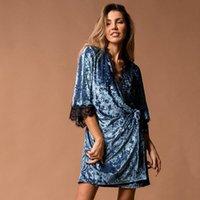 Женские спящие одежды Hiloc вязание Pijama бархатные Peignoirs для женщин кружевной сращивание ночной халат ночной русский