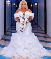 Plus Size Arabic Aso Ebi Mermaid Wedding Dresses 2022 Luxury Lace Crystal Ruffles Skirt African Nigerian Trumpet Brdial Gowns