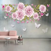Wallpapers PVC Wallpaper Modern Minimalist 3D Stereo Jewelry Flower Butterfly Po Wall Murals Living Room TV Bedroom Home Decor Stickers