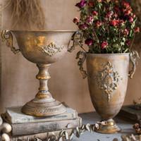 Vintage Alte Schmiedeeisenvase Blume Home Einrichtung Golden Silber Europäischen Blumentopf Becher Klassische Blumendekoration