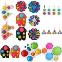Rainbow Butterfly Flower Shape Push Bubble Fidget Toys Sensory Simple Dimple Key Ring Finger Toy Keychain Squeeze Bubbles Ball