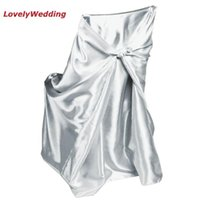 Chair Covers High Quality White Universal Satin Cover For Home Banquet Wedding Decoration/self-tie Covering The