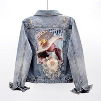 Women's Jackets Streetwear Style Print Denim Jacket Coat Diamonds Hole BF Jeans Outwear Female Spring Autumn Casual Loose Cowboy