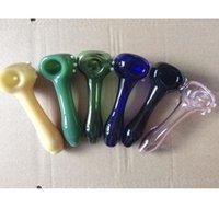 Новейшие красочные стеклянные трубы с горелкой для горелки для ложки табака Трубы для ложки сухой травы Курение для курения ручной работы при сигарете трубы 6 цветов 11,5 см Длина моды