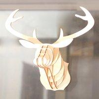 Adorno de madera alces creativo bricolaje de bricolaje de ciervos de ciervo de la cabeza de la pared colgante artesanía colgante decoración del hogar de la Navidad