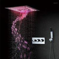 욕실 샤워 세트 비 패널 LED 블루투스 음악 시스템 폭포 마사지 수도꼭지 세트 400mm 크롬 샤워 헤드 Rainfall1