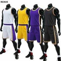 Rexue Herren Basketball Jersey Set Männer Blank Basketball Uniform Kinder Erwachsene Training Weste Doppel Tasche Shorts Kinder Sportswear