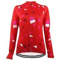 Гоночные куртки Hirbgod 2021 красный с длинным рукавом Велоспорт Джерси Джерси Wome Треугольник Печать Легкий Велосипед Одежда Мода Велосипед Топы Носить, NR2091
