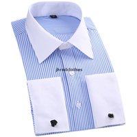 الرجال الفرنسية أزرار أكمام قميص شريطية الصلبة ماركة الرجال الرسمي الرجال قميص ذوي الياقات البيضاء تصميم الذكور صالح سليم الفرنسية الكفة زائد size6xl 5xl